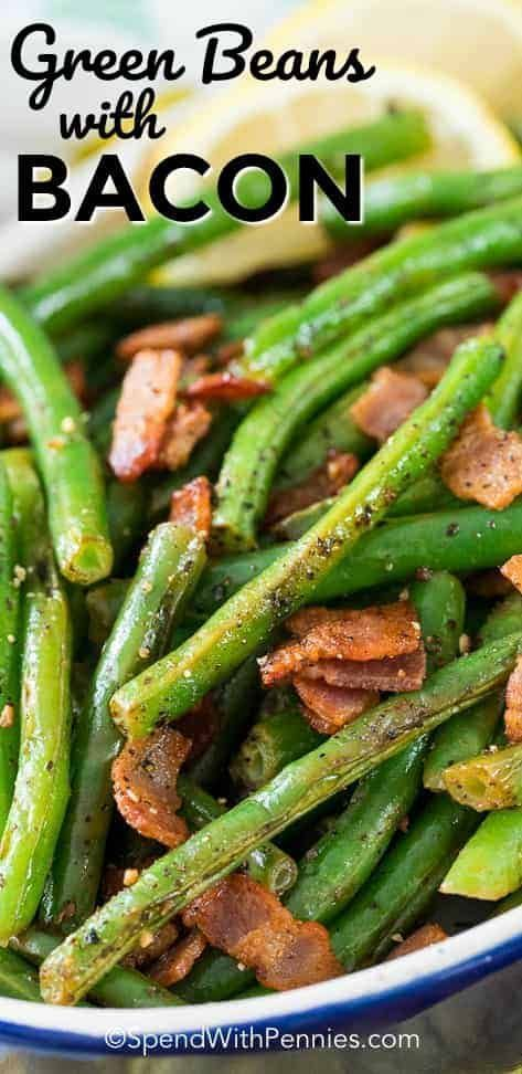 Green Beans with bacon is one of our all time favorite side dishes! Fresh green beans are sauteed with bacon and garlic until tender crisp. A squeeze of fresh lemon is added just before serving making these the perfect easy side! Green Beans with bacon is one of our all time favorite side dishes! Fresh green beans are sauteed with bacon and garlic until tender crisp. A squeeze of fresh lemon is added just before serving