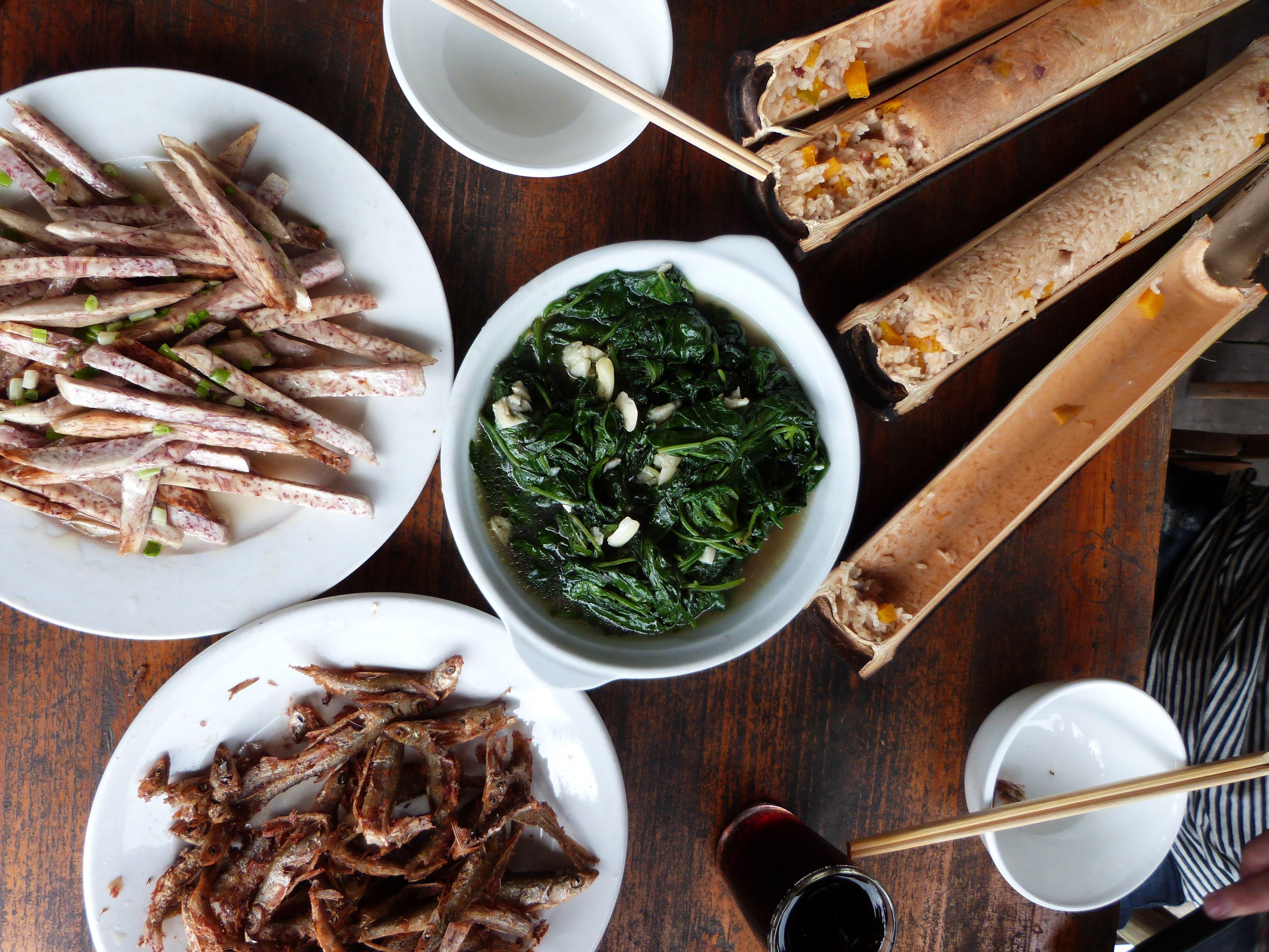 Bamboo Rice, vegetables, fish. Guilin. China.