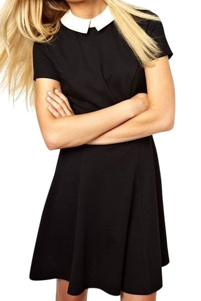 Turn Down Collar Color Block Dress Adorable Or More