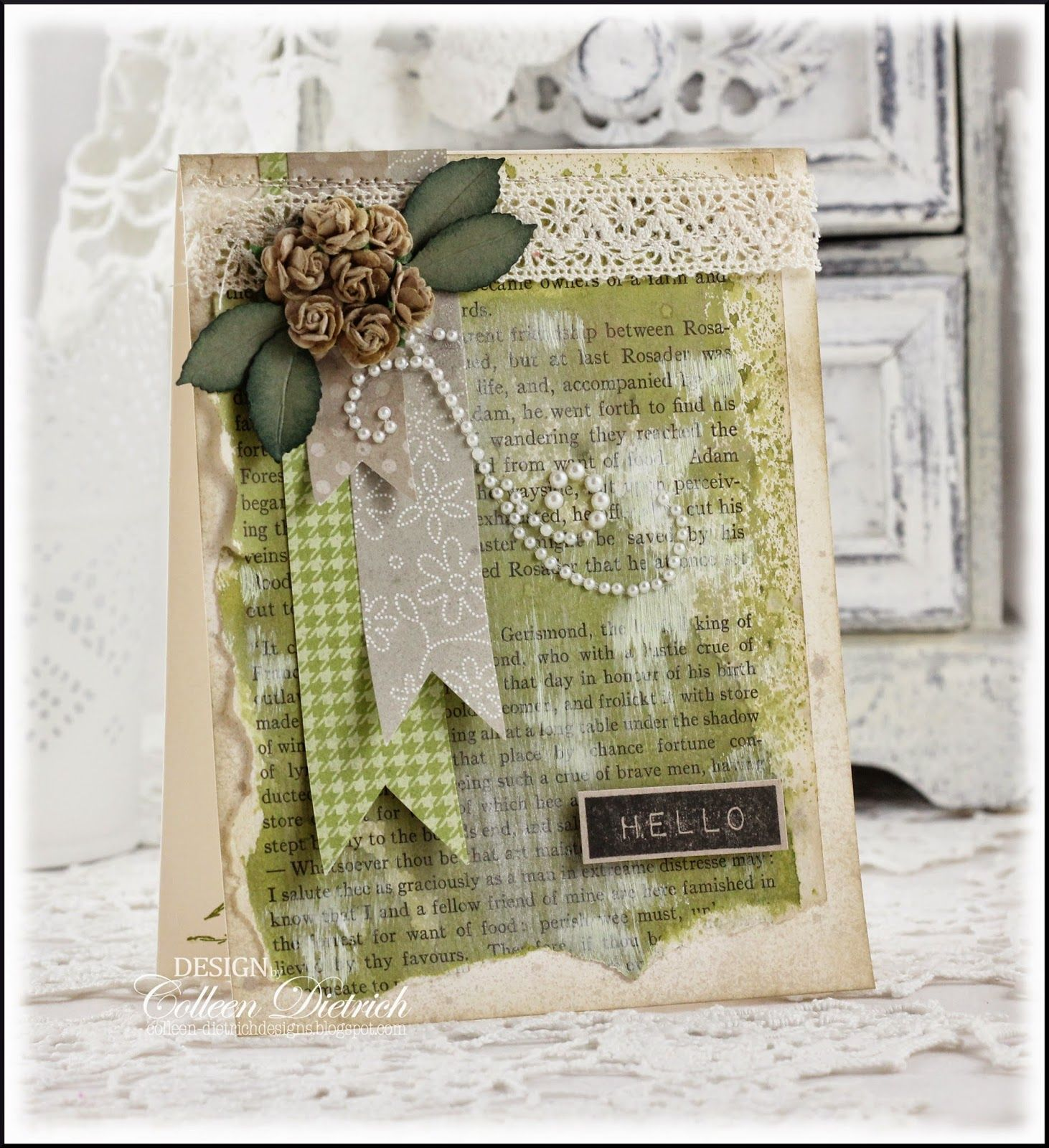 Dietrich Designs- Mixed media greeting card, using hello greeting from Altenew, little taupe roses and a pearl spray from Recollections.