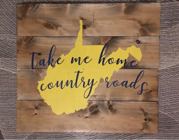 WVU Proud Handmade Wooden West Virginia Mountaineers Sign Take Me Home Country Roads