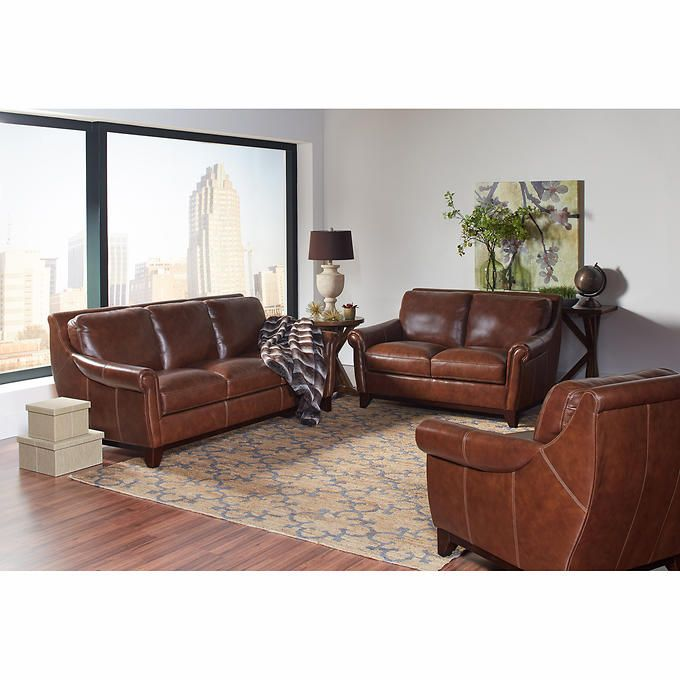 costco leather living room furniture crown molding ideas for crofton 3 piece top grain set 7510 pinterest