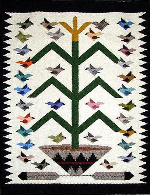Beautiful Navajo Rug Weaving By Marie Begay Bird Pictorial
