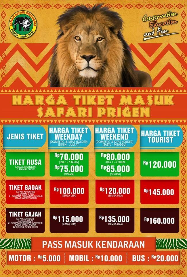 Harga Tiket Taman Safari Prigen Februari Maret 2019