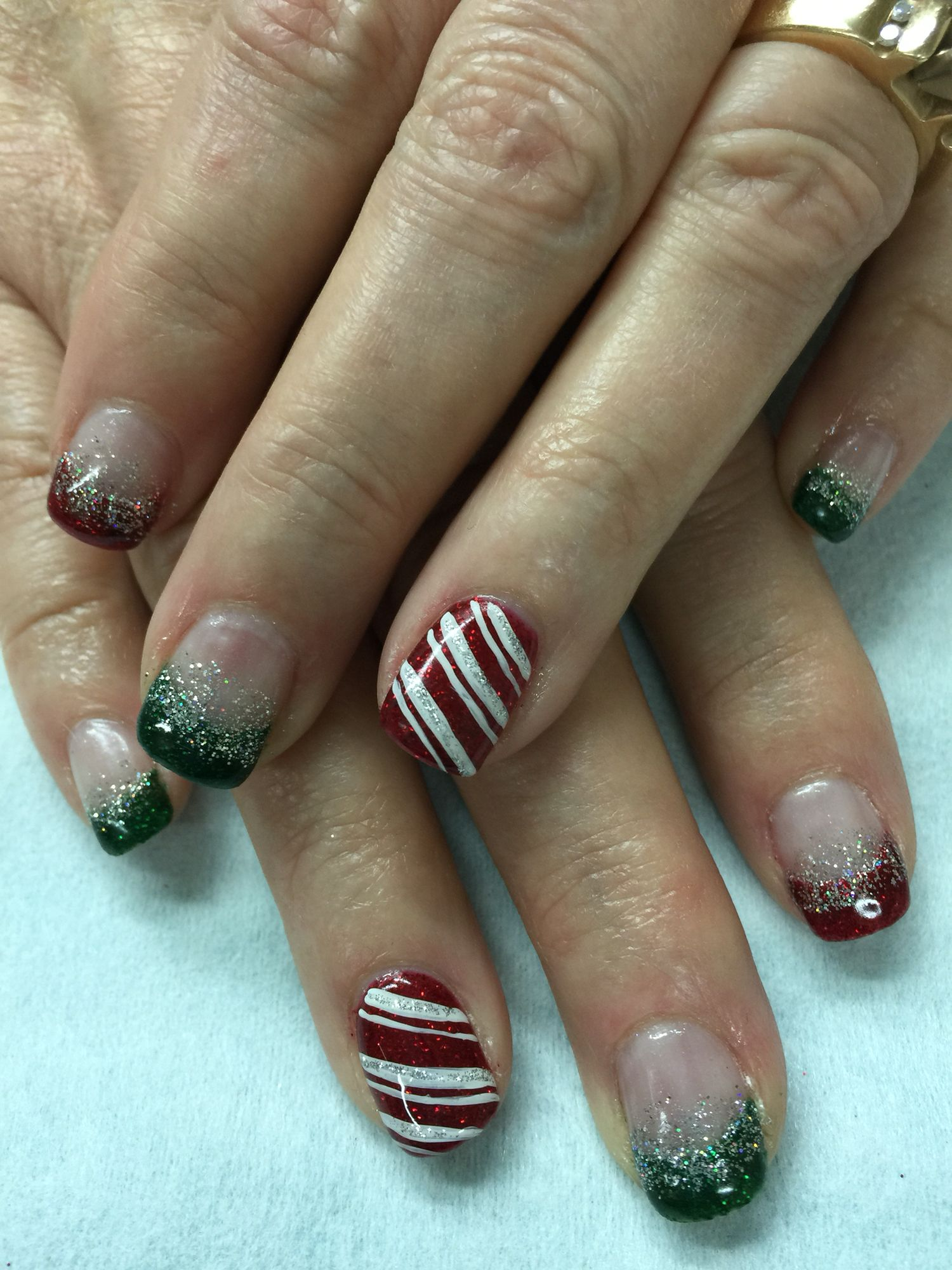 Red, Green & Silver Gliiter French Christmas Candy Cane hard gel ...
