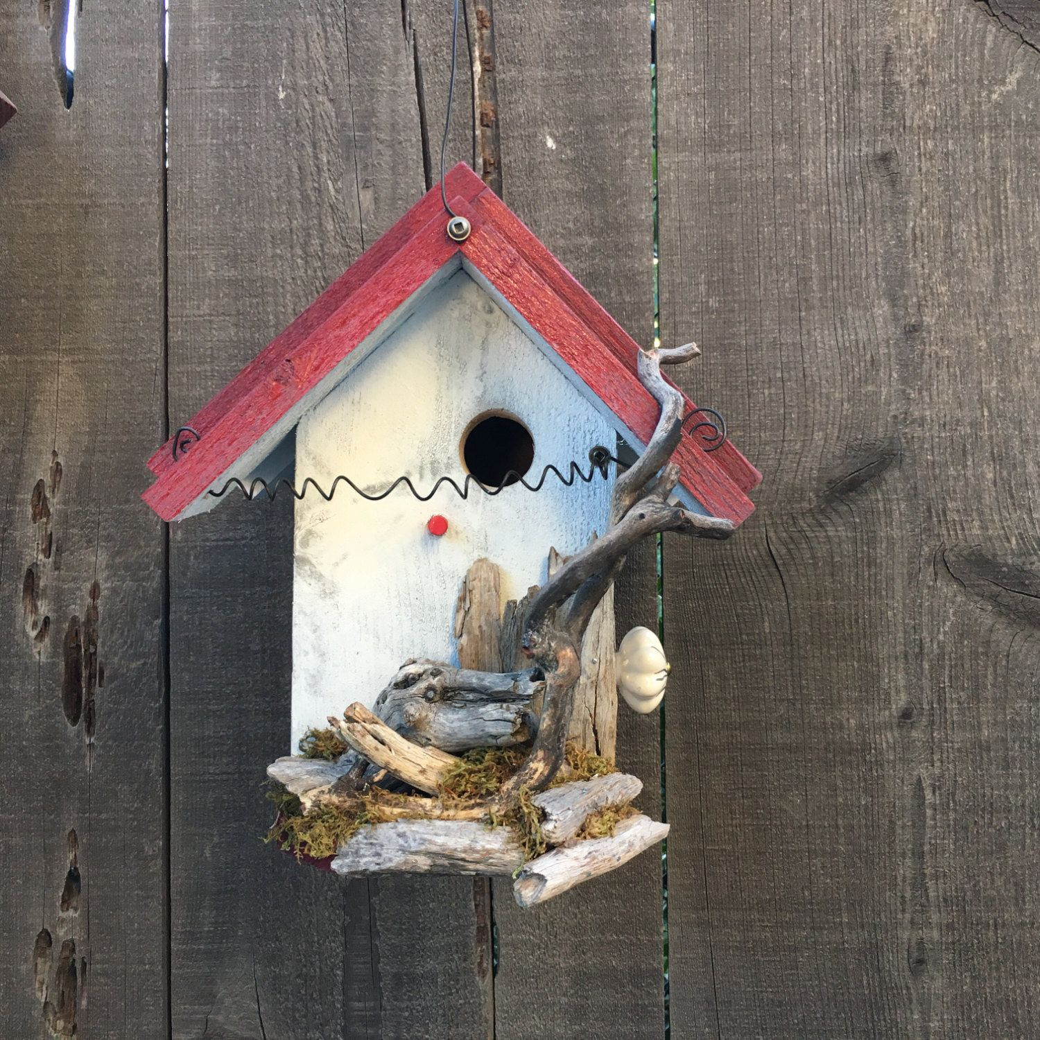 Rustic Wood Birdhouse Functional Unique with Natural ...