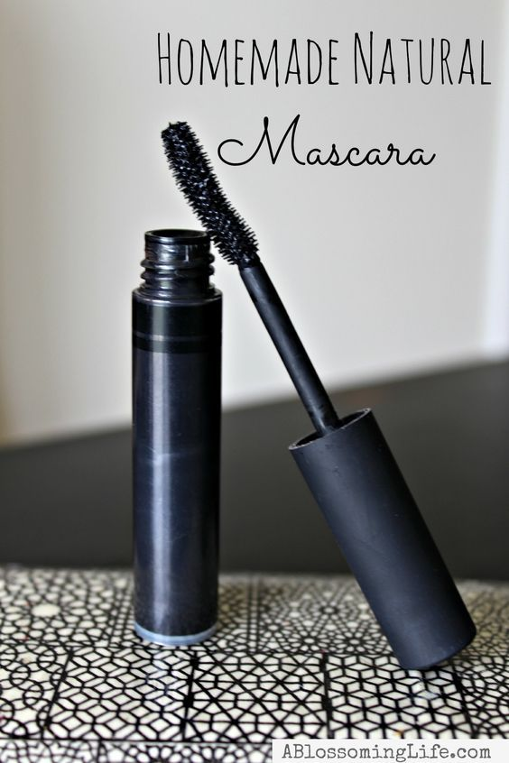 Homemade Natural Mascara made with coconut oil, shea butter, beeswax, aloe vera, and activated charcoal.