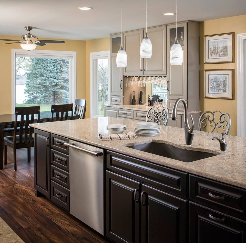 Kitchen Remodel With Added Entertainment Bar Space And New Large Island Quality Kitchen Cabinets Kitchen Remodel Kitchen