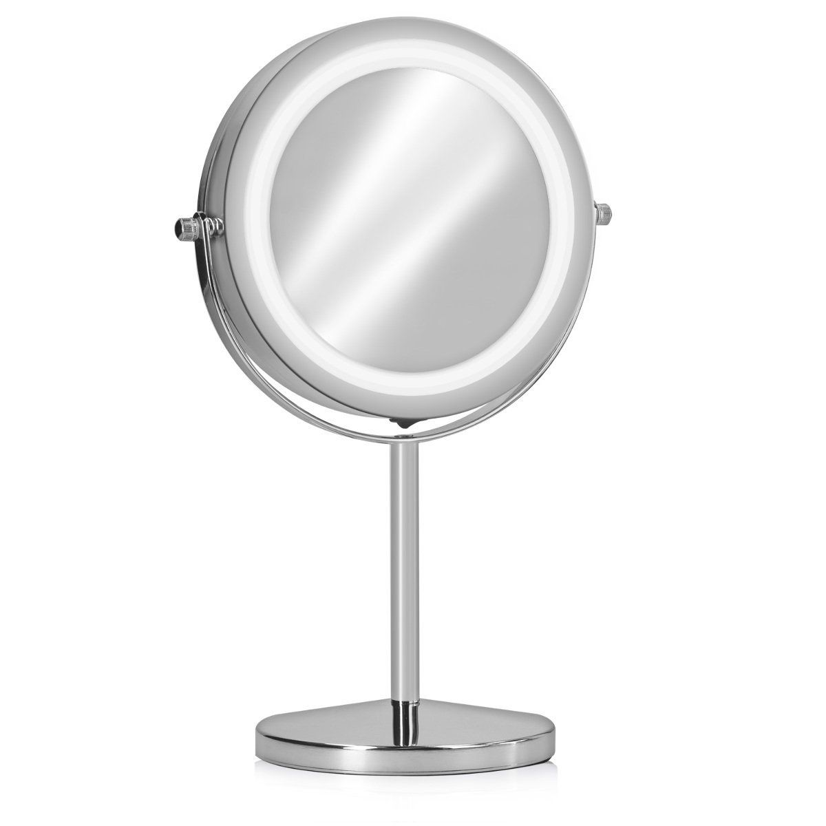 Navaris Led Beauty Mirror Lighted Standup Mirror 5x Magnification Double Side Pivoting Make Up Mirror 360 Ch Cosmetic Mirror Makeup Mirror Beauty Mirror