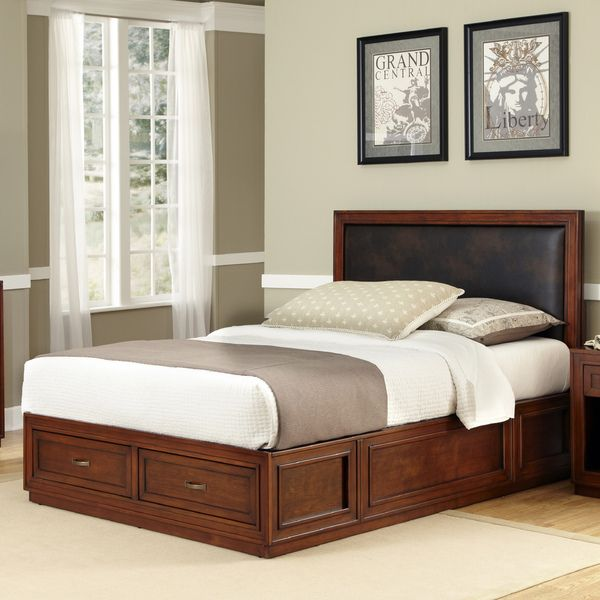 Amazing Queen Size Platform Storage Bed With Upholstered Headboard ...