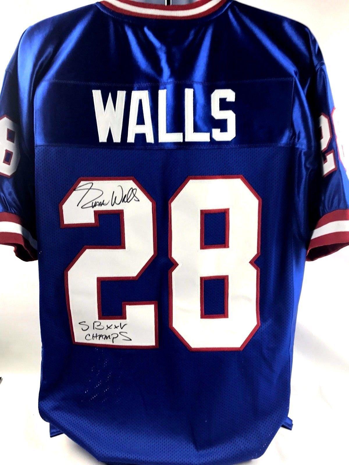 buy popular 81105 e6595 Everson Walls Signed XL Custom New York Giants Jersey Zobie ...