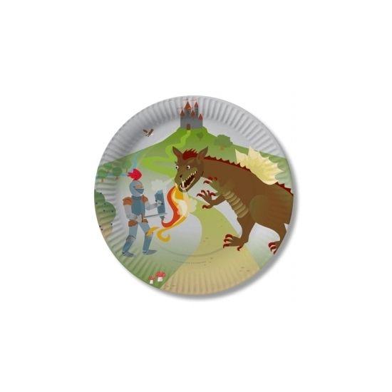 Ridder thema bordjes met draken. Inhoud: 8 stuks. Materiaal: papier & karton. Formaat: 23 cm. Leuke borden voor uw ridder feestje!