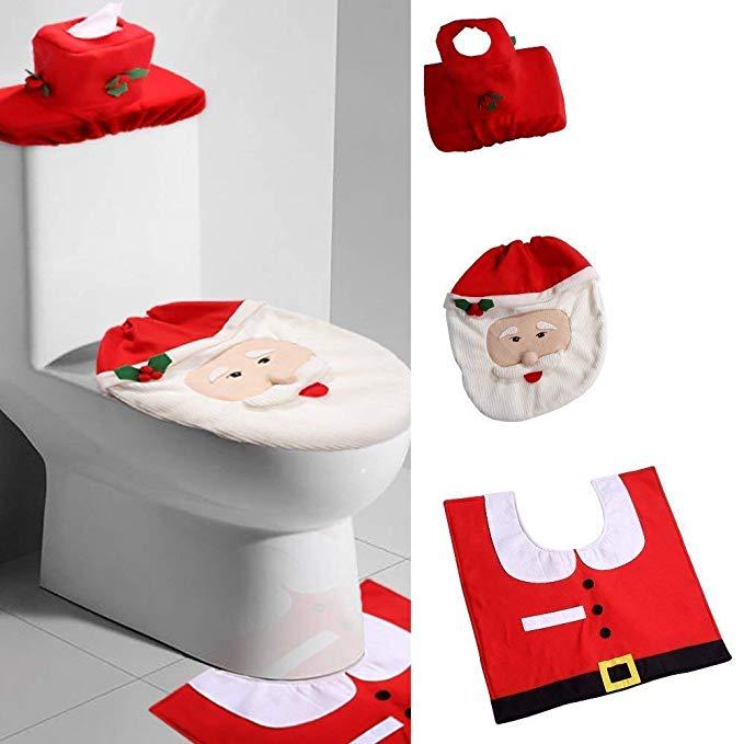 Uten Weihnachten Toilettensitzbezug Weihnachtsdeko Wc Sitze Set Mit Sitzbezug Teppich Gewebe Deckel Fur Sitzbezug Weihnachtsdeko Badezimmer Garnitur Set