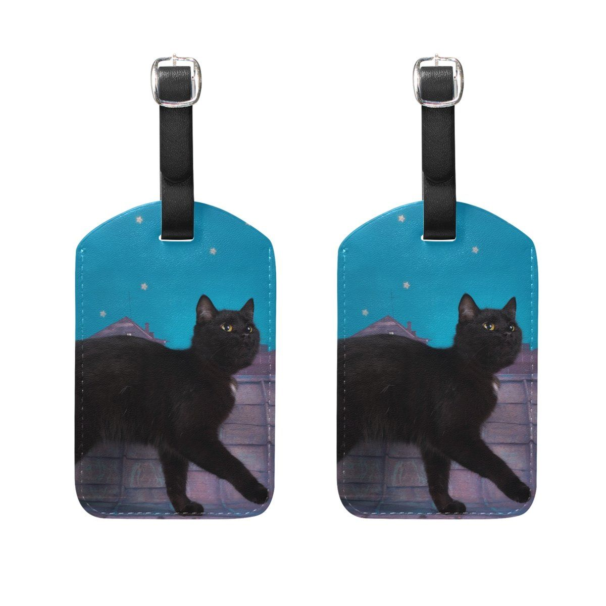ALAZA Kawaii Black Cat Leather Passport Holder Cover Case Travel Wallet