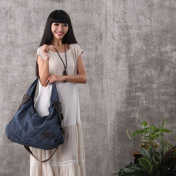 Bag - Women Canvas Leather Shopping Bag Shoulder Bag Handbag Messenger Bag Large Capacity Bag