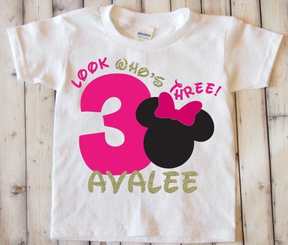 Minnie Mouse Third Birthday Shirt Look Whos By OnceUponATwincess