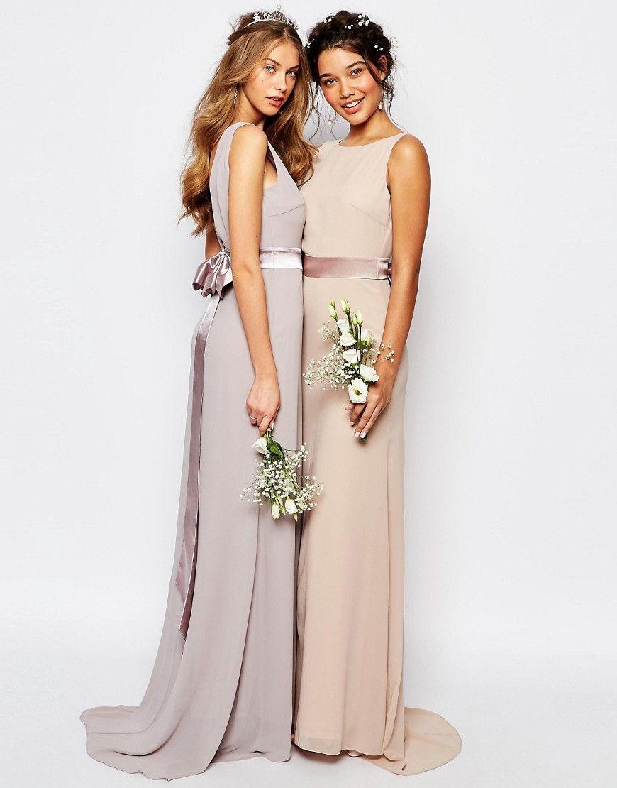 Wedding dress with bow on back  Image  of TFNC WEDDING Sateen Bow Back Maxi Dress