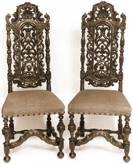 William and Mary Antique William and Mary Dining Chairs with open