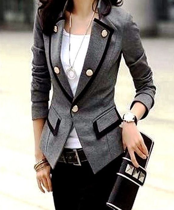 Love this jacket!!! Grey menswear with details!