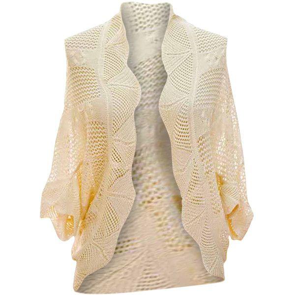 Cream Crochet Open Knit Scalloped Edge Shrug Sweater ($16 ...