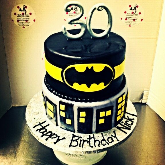 Awe Inspiring Batman Themed Birthday Cake Facebook Com Carinaedolce Funny Birthday Cards Online Sheoxdamsfinfo