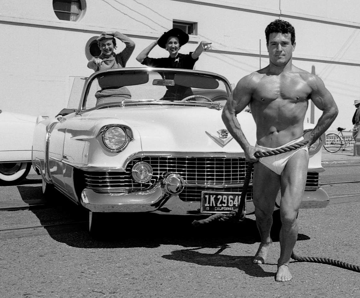 Exceptional Jack Lalanne Bench Press Part - 10: Jack Lalanne Pulling A Cadillac, 1950s. Photo By.