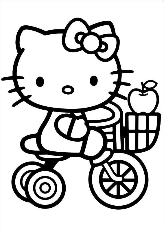 Bike With Apple Hello Kitty Colouring Pages Kitty Coloring Hello Kitty Coloring
