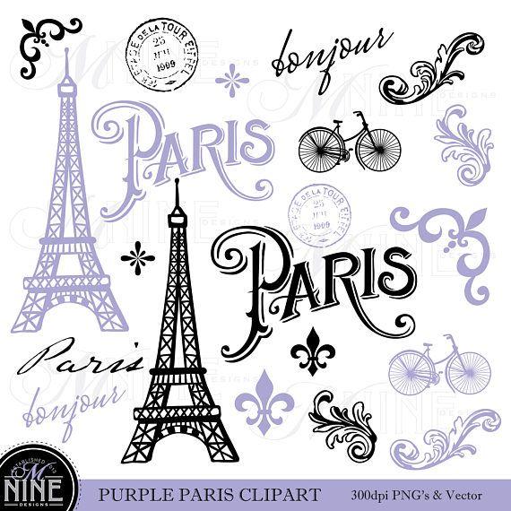 Purple Paris Clip Art Paris Theme Clipart Download Parisian Clip