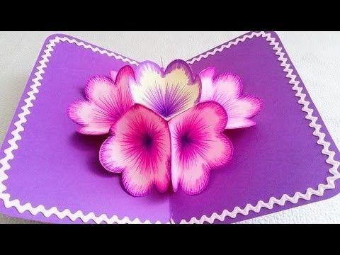 Diy 3d Flower Pop Up Card Pop Up Flower Cards Cards Handmade Flower Cards