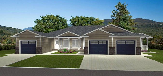 Plan 2015852 Triplex Plan By Edesignsplans Ca Two Bedroom Open Concept Layout With Single Car Garage Plu Garage House Plans Duplex House Plans House Plans
