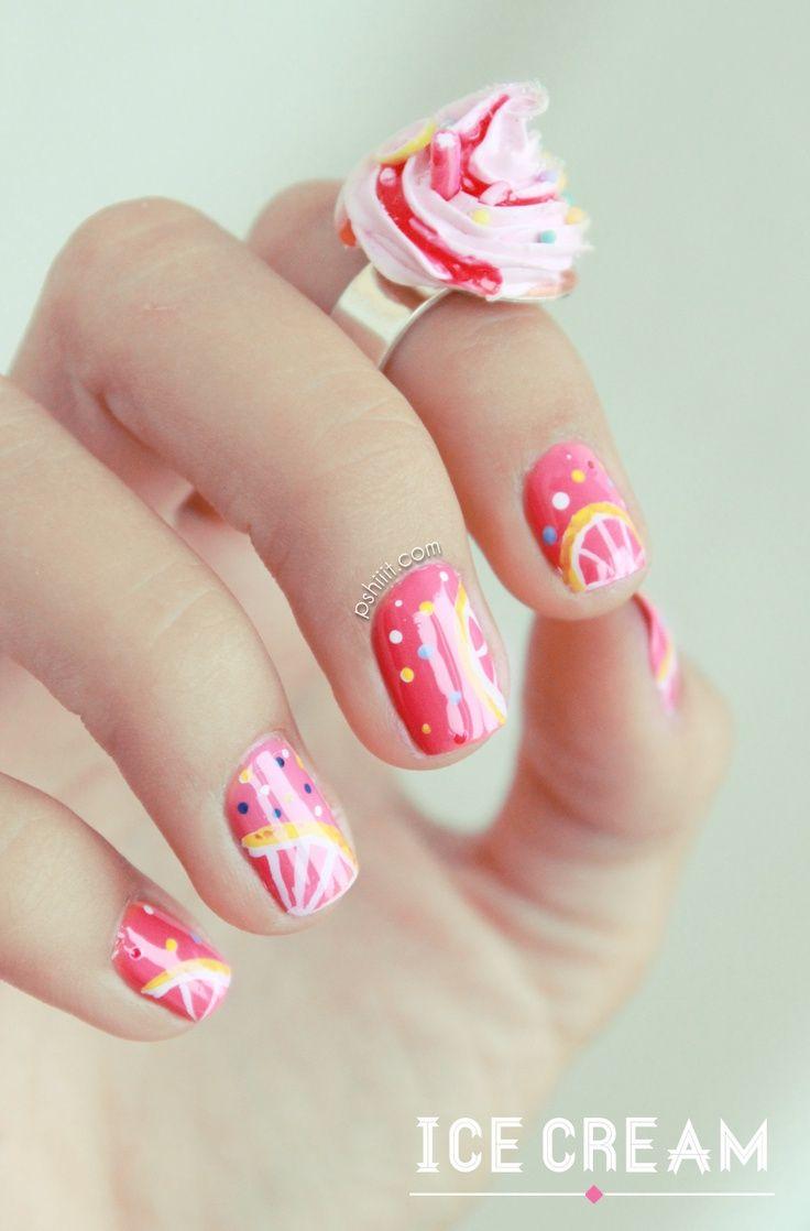ice cream themed nail art