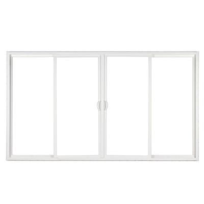 Simonton 144 In X 80 In White 4 Panel Contemporary Sliding Patio Door With Prosolar Lowe Glass And C Vinyl Sliding Patio Door Sliding Patio Doors Patio Doors