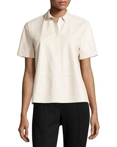 Lafayette 148 New York Maisie Leather Short-Sleeve Blouse, Oyster New offer @@@ Price :$748 Price Sale $445