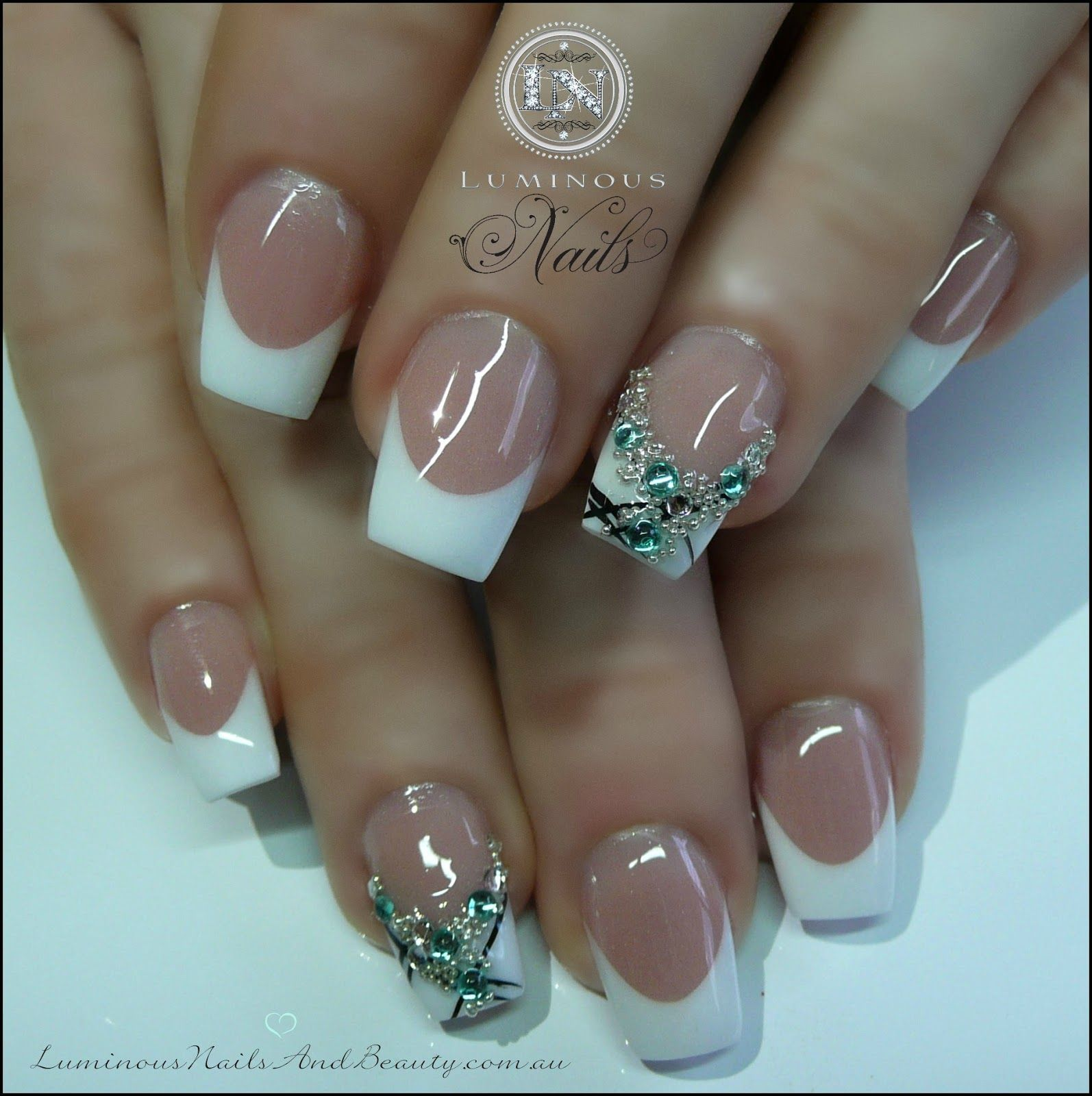 Luminous Nails: French Nails with a little Bling... | Beauty | Pinterest