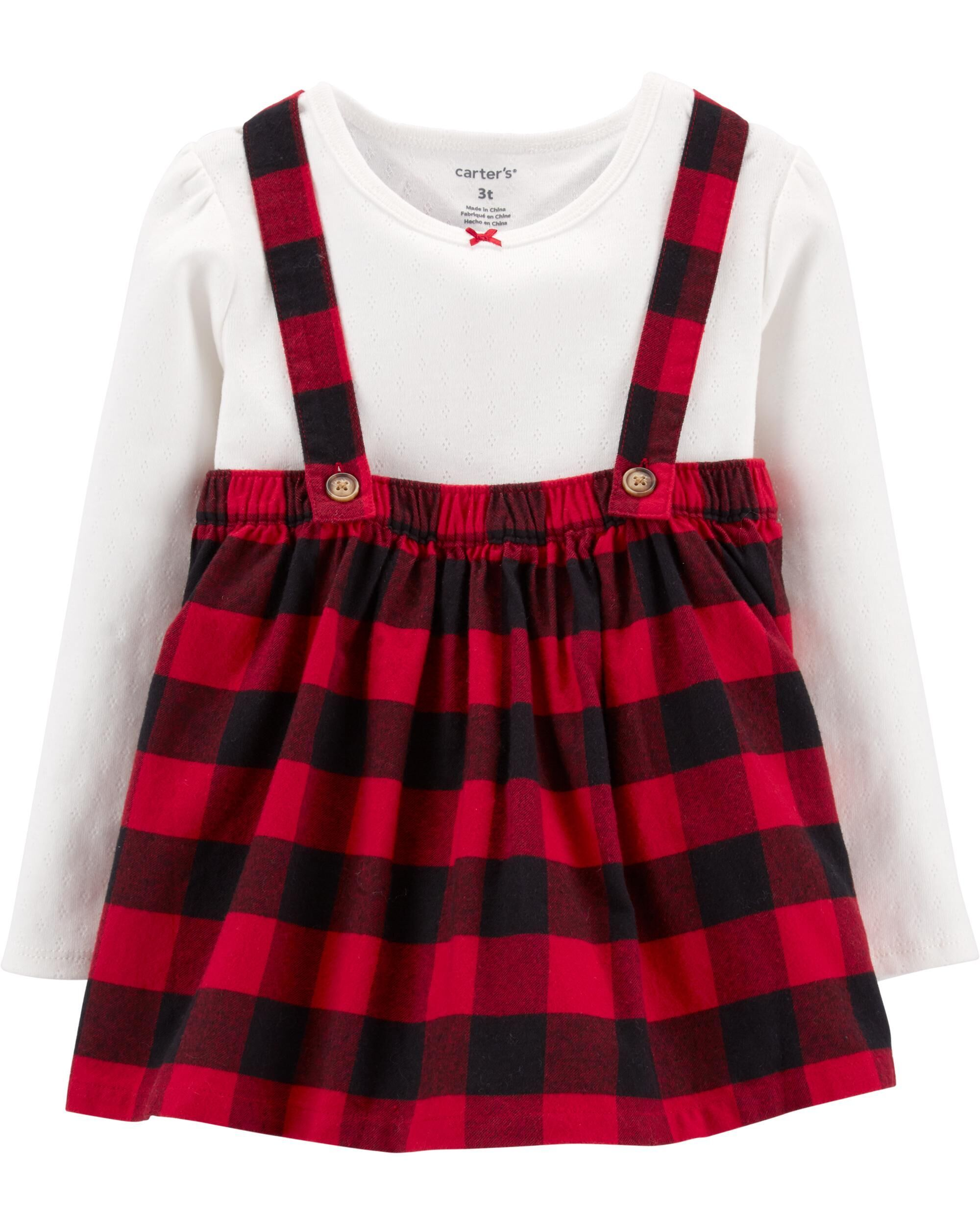 2 Piece Buffalo Check Jumper Set Toddler Girl Outfits