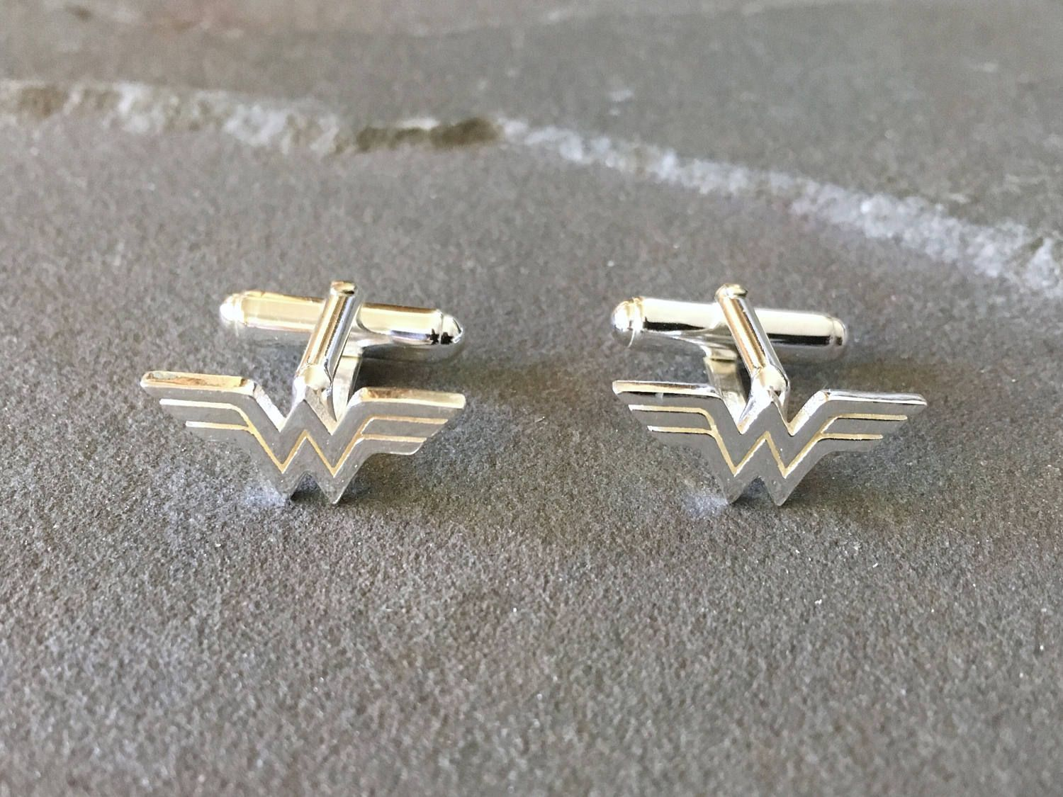 Sterling Silver Wonder Woman Cufflinks, Gifts for Techies, Superhero Gifts, Geeky Gifts, Groom Cufflinks, Superhero Cufflinks, Wonder Woman #superherogifts
