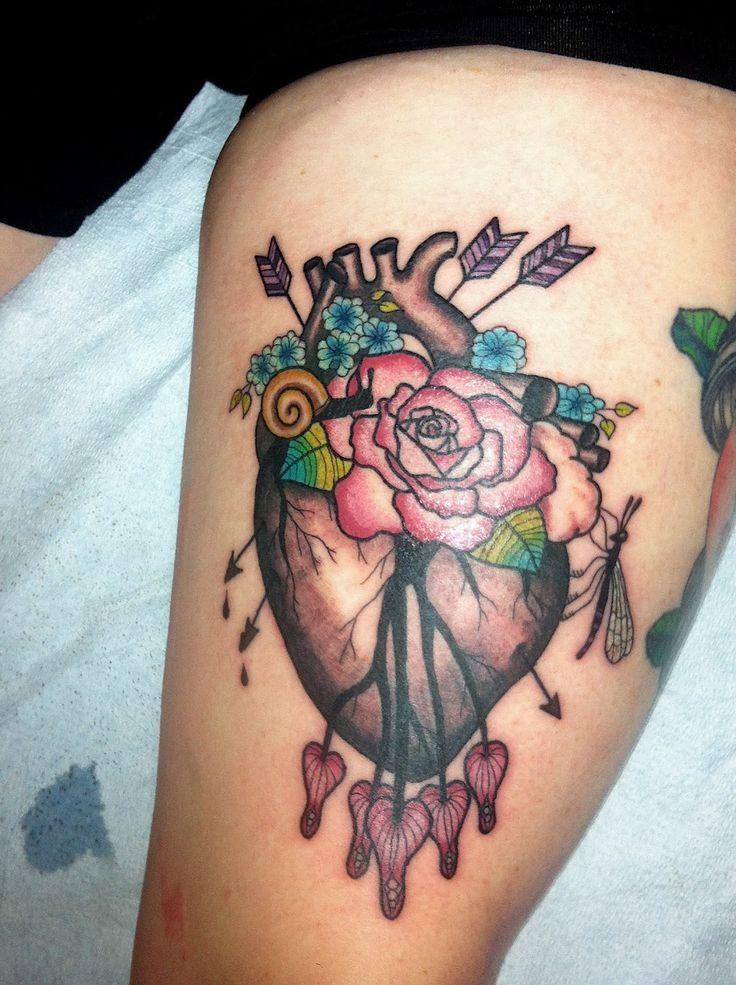 anatomical heart wounded heart bleeding hearts tattoo ...