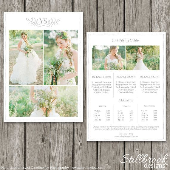 Photography Pricing Template Price Guide List Wedding Photographer Photo Sheet Pg05