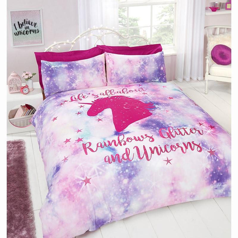 Rainbow Unicorn Double Duvet Set in 2020 Unicorn bedroom