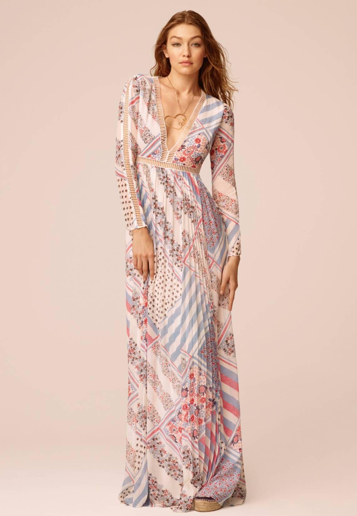 gigi hadid - maxi dress - white. sheer:semi-sheer. details