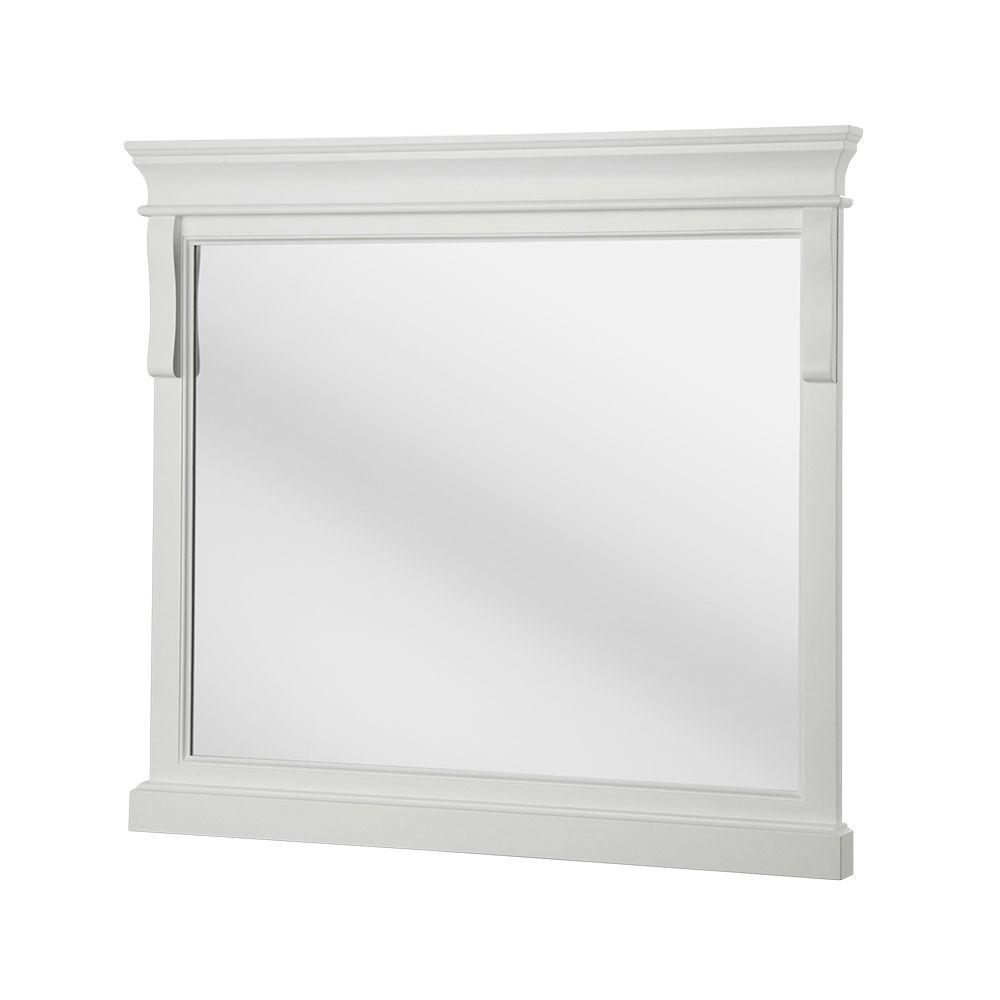 Foremost Naples 36 in. x 32 in. Framed Wall Mirror in White | Naples ...
