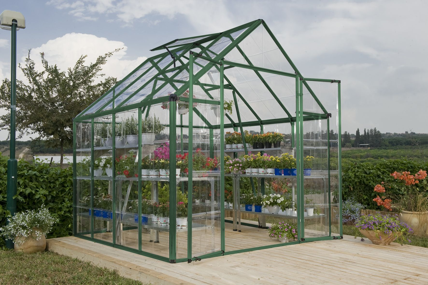 the snap and grow greenhouse assembles quickly and easily with the