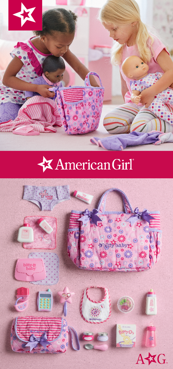 American Girl Bitty Baby Mommy/'s Diaper Bag Essentials for doll New pink purple