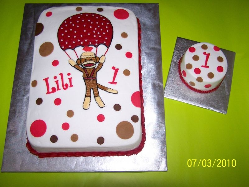 sock monkey sheet cake must learn how to do this for Madalyns bday