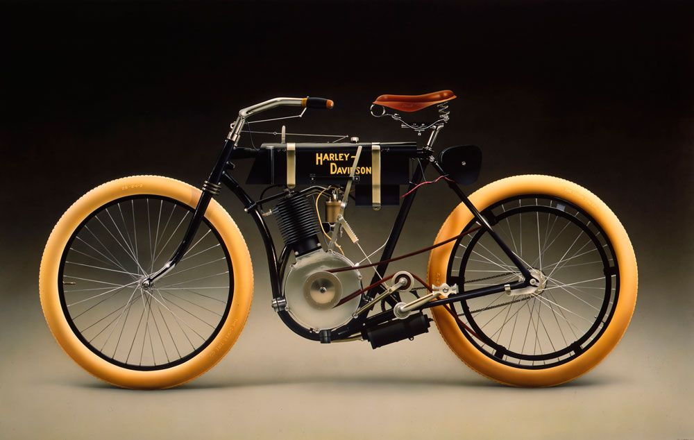 First Harley Davidson: First Harley Davidson 1903. A Tomato Can Was Used For The