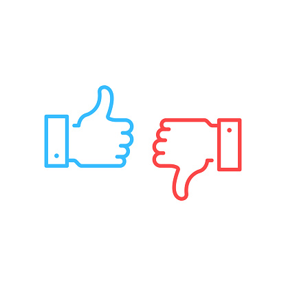 Like And Dislike Icons Blue Thumbs Up And Red Thumbs Down Button Free Vector Art Thumbs Down Line Icon