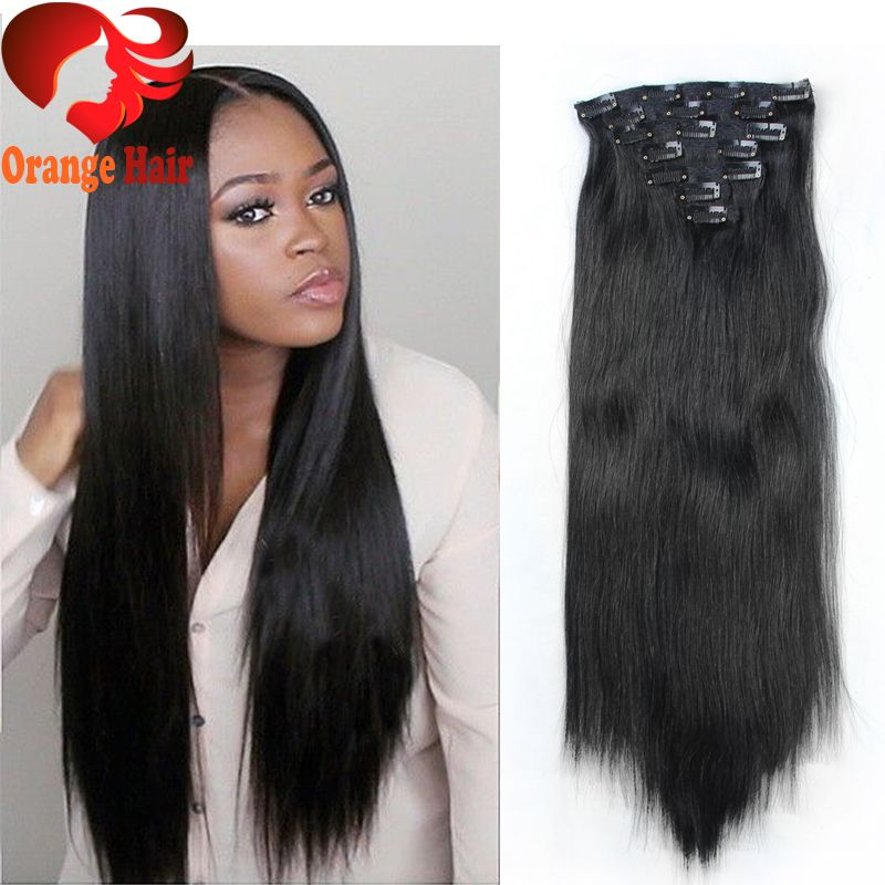 Cheap Silky Straight Remy Human Hair Clip in Extensions Brazilian Clip in Hair Extensions for ...