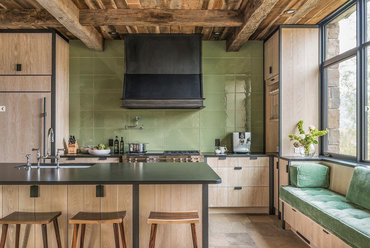 Green Kitchen Limed Oak Cabinets Bleached Oak Cabinets Black Countertops Large Tile Backsplash Bla Kitchen Inspirations Design Build Firm Tennessee Living