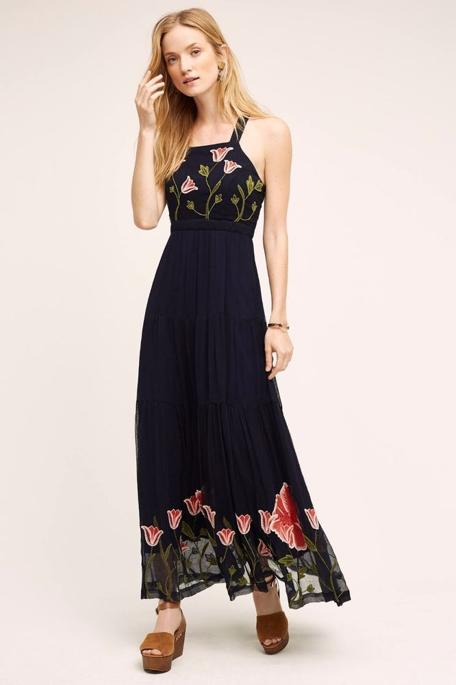 3a6d82678801 NWT ANTHROPOLOGIE TULIPAN EMBROIDERED STRAPPY BOHO MAXI DRESS by FLOREAT 2  #Floreat #Maxi #Cocktail