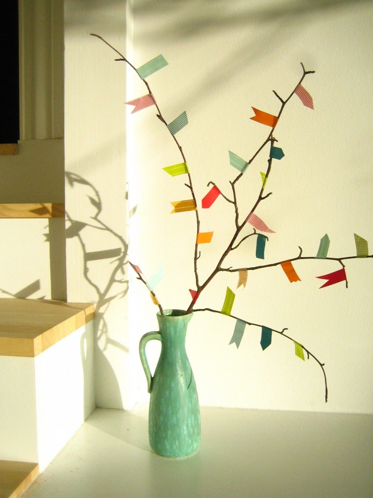 Washi tape tree great idea...mine will look a little more modern...not quite so many flags but this is the idea! #fastelavnpynt